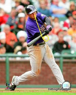 Eyes down in the zone, behind the ball, barrel in the way of the path of the pitch.