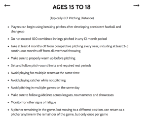 Pitching recommendations (15-18)