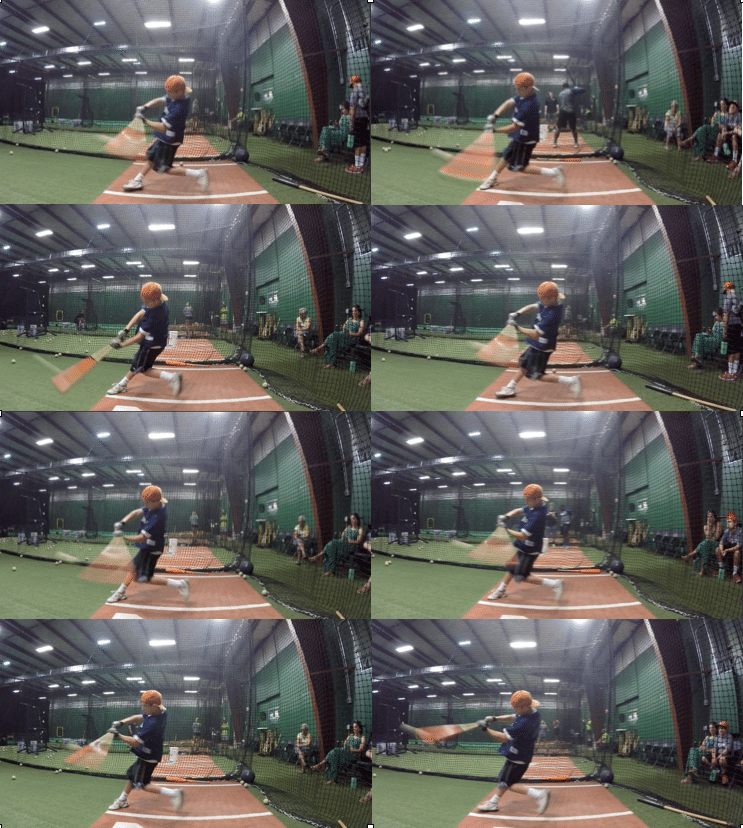 Baseball swing contact positions