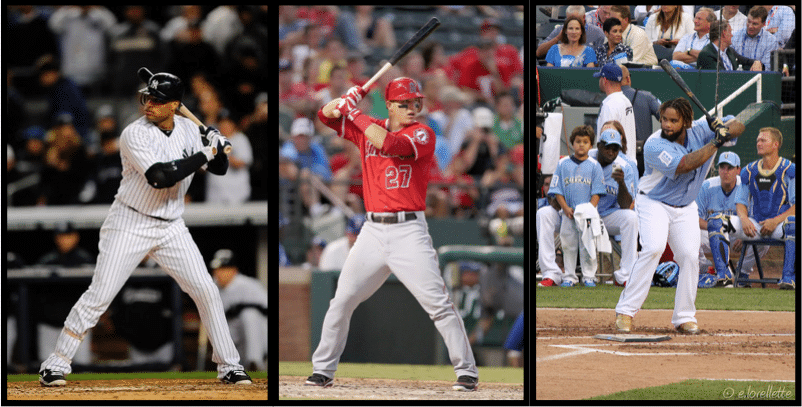 Robinson Cano, Mike Trout, Prince Fielder Back Elbow Starting Position