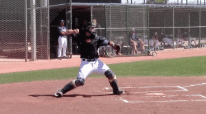 Austin Hedges Throw at Foot Strike