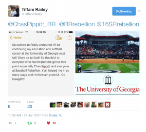 Tiffani Railey UGA Softball Tweet