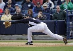 New York Yankees' Mark Teixeira in action during a spring training exhibition baseball game against the Detroit Tigers, Saturday, March 2, 2013, in Tampa, Fla. (AP Photo/Matt Slocum)